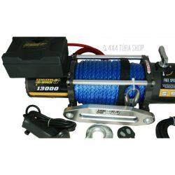K13000 syn csörlő rádiós távirányítóval, szintetikus kötéllel, 4x4 Túra Shop LED fényhíd munkalámpa terepjáró offroad traktor autómentő felszerelés, csörlő rántokötél heveder
