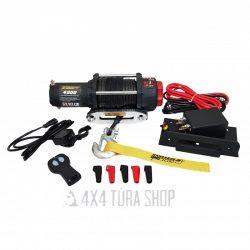 K4500 csörlő rádiós távirányítóval, szintetikus kötéllel, 4x4 Túra Shop LED fényhíd munkalámpa terepjáró offroad traktor autómentő felszerelés, csörlő rántokötél heveder